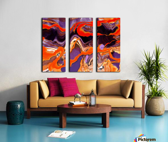 Flaming Paint Pour Split Canvas print