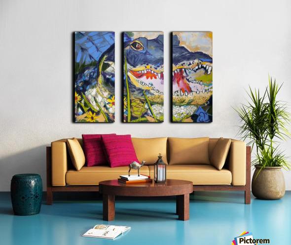 Louisiana Alligator with Wildflowers Split Canvas print