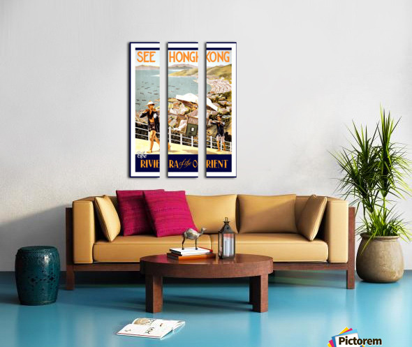 See Hong Kong vintage travel poster Split Canvas print