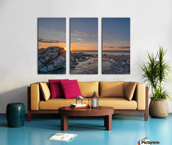 Rocks sun and water Split Canvas print