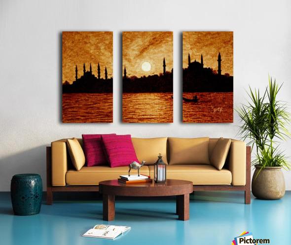 Sunset Over Istanbul Original Coffee Painting Split Canvas print