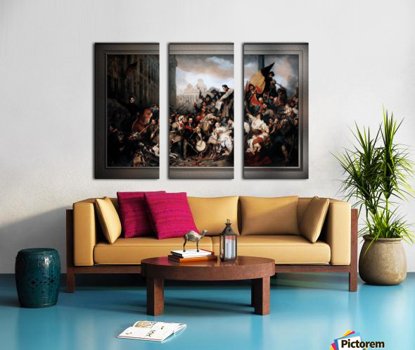 Episode of the September Days 1830 by Gustave Wappers Classical Fine Art Xzendor7 Old Masters Reproductions Split Canvas print