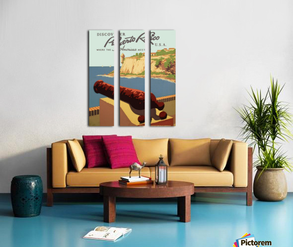 Discover Puerto Rico USA travel poster Split Canvas print