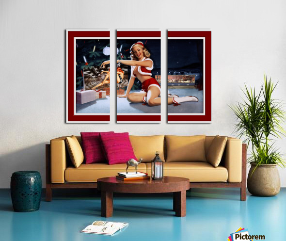 Christmas Pinup by Bill Medcalf Art Old Masters Xzendor7 Reproductions Split Canvas print