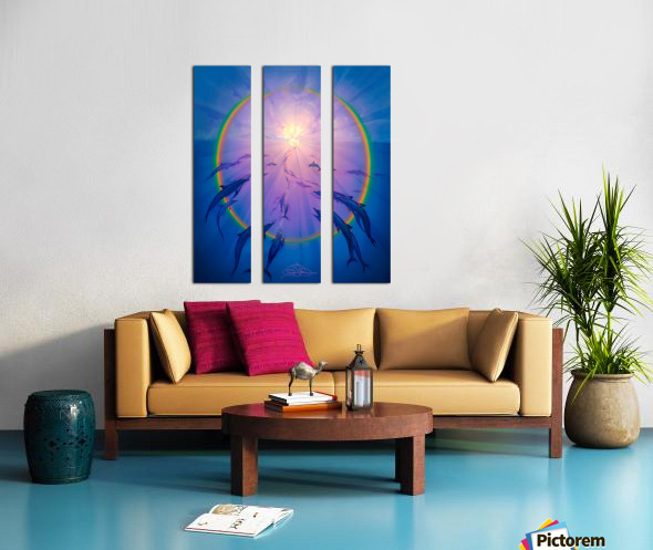 Rainbow Dolphins Into the Light Split Canvas print
