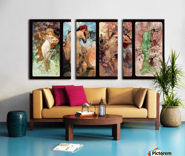 Seasons by Alphonse Mucha Art Nouveau Xzendor7 Old Masters Art Reproductions Split Canvas print