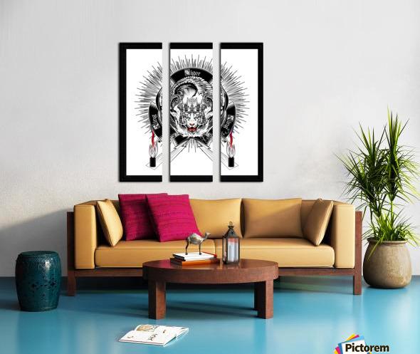 White Tiger King Tiger Art Emblem by Xzendor7 Split Canvas print