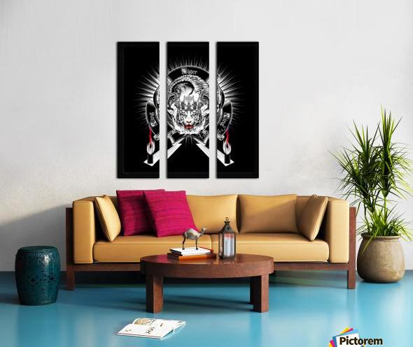 White Tiger King Tiger Art Emblem BlkBgnd by Xzendor7 Split Canvas print