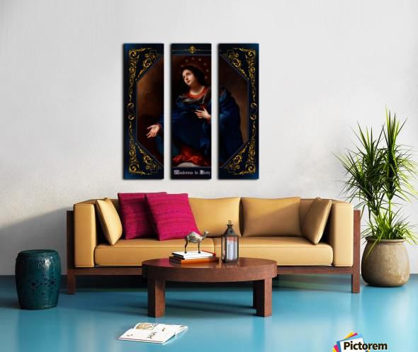 Madonna in Glory by Carlo Dolci Blue Gold Border Xzendor7 Old Master Art Reproductions Split Canvas print