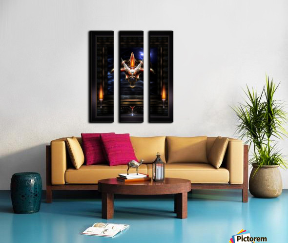 Akrellian Torch Fire Portrait Fractal Art Composition by Xzendor7 Split Canvas print