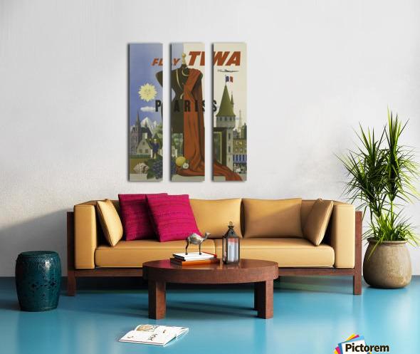 Fly TWA Paris Tourism Poster Split Canvas print