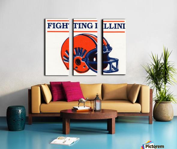 Retro Illinois Football Helmet Art Split Canvas print