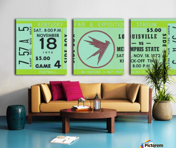 1972 Louisville Cardinals vs. Memphis State Tigers Split Canvas print