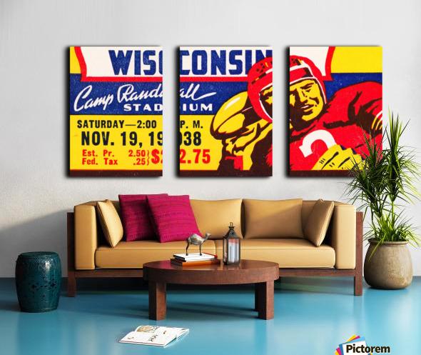 1938 Wisconsin Badgers Football Ticket Remix Art Split Canvas print