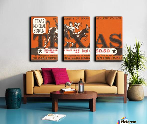 Vintage Thirties Texas Longhorn Football Ticket Remix Art Split Canvas print