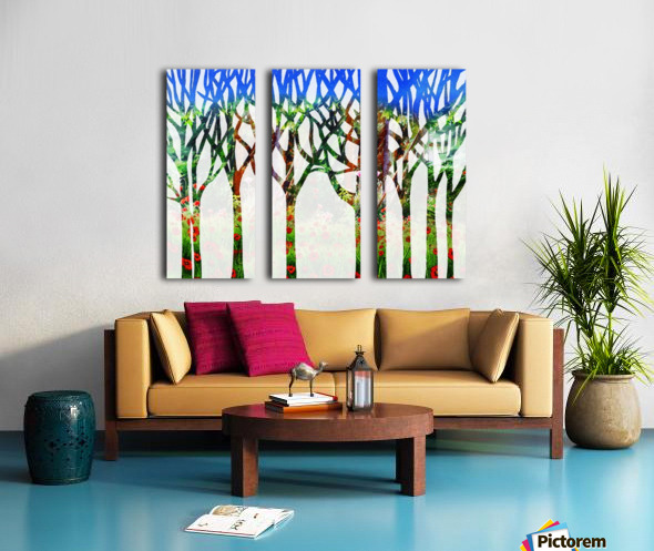 Watercolor Forest Silhouette Summer Split Canvas print