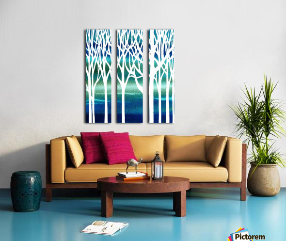 Blue Teal Forest  Split Canvas print