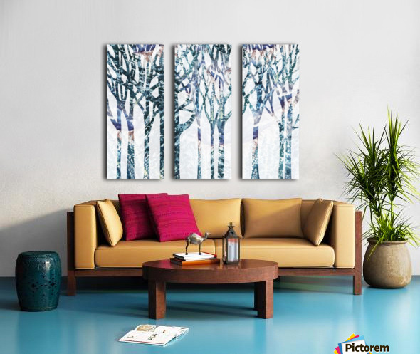 Watercolor Forest Silhouette Winter Split Canvas print