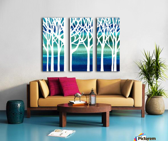 White And Teal Forest Split Canvas print