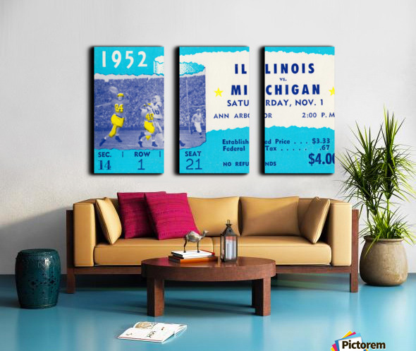 1952 Illinois vs. Michigan Football Ticket Stub Art Split Canvas print