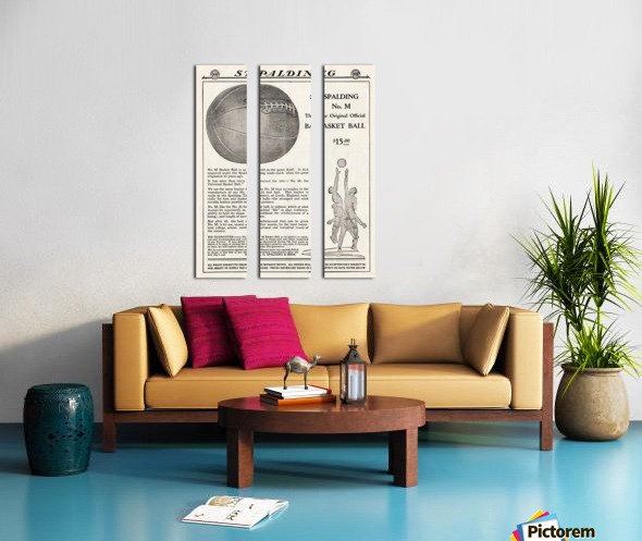 1921 Spalding Basketball Advertisement Poster Split Canvas print