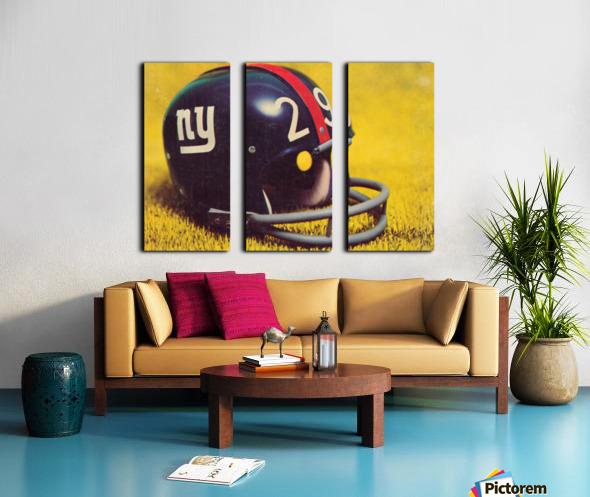 1969 New York Giants Vintage Football Helmet Photo Art Split Canvas print
