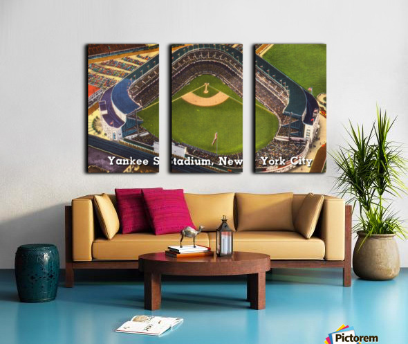 Vintage Yankee Stadium Postcard Art Split Canvas print