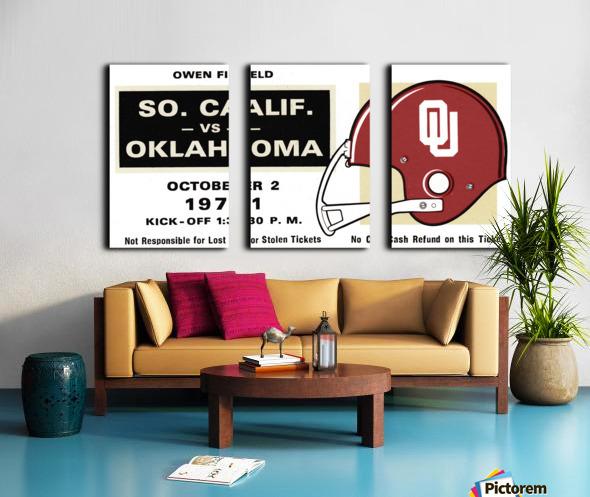 1971 USC vs. Oklahoma Football Ticket Stub Remix Art  Split Canvas print