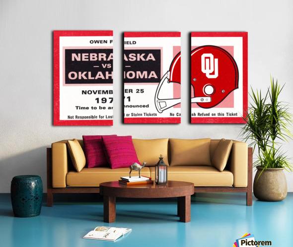 1971 Oklahoma Nebraska Game of the Century Ticket Stub Remix Canvas Art Split Canvas print