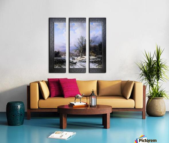 Snow Landscape by Alexander Joseph Daiwaille Classical Art Xzendor7 Old Masters Reproductions Split Canvas print