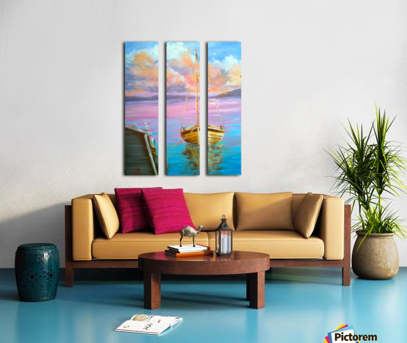 tranquility floating boat patiently waiting for new adventure. Split Canvas print