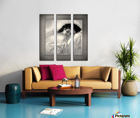 Sweet Dreams by Rolf Armstrong Vintage Illustration Xzendor7 Art Reproductions BW Split Canvas print