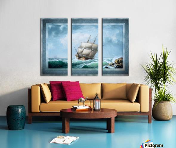 Brig Off the Maine Coast by Fitz Hugh Lane Classical Marine Fine Art Xzendor7 Old Masters Reproductions Split Canvas print