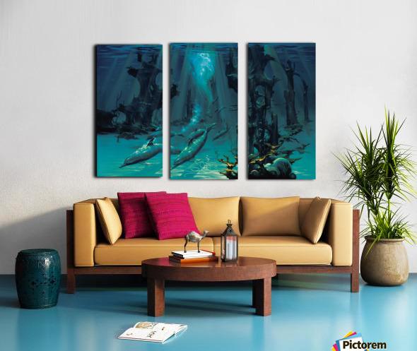Atlantis Dolphins Split Canvas print
