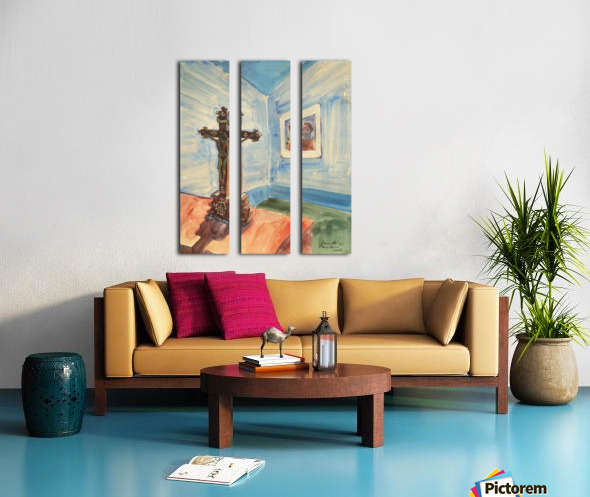 Crucifix in the room by Walter Gramatte Split Canvas print
