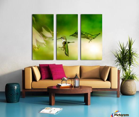 Emerald Hummingbirds Split Canvas print