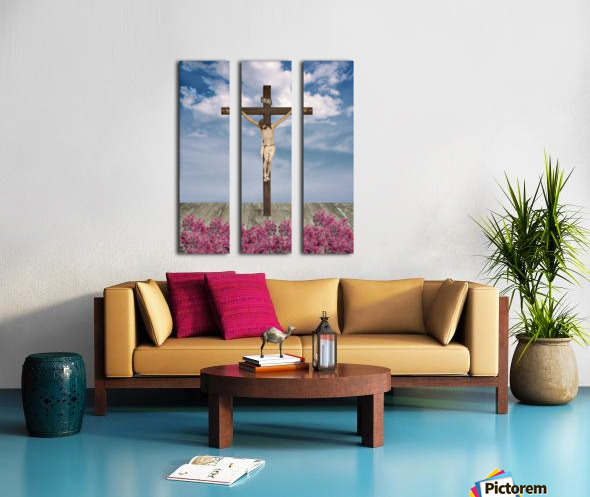 Jesus on the Cross Illustration Split Canvas print