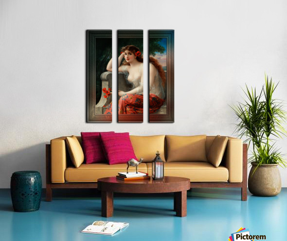 Girl with a Poppy byEmile Vernon Wall Decor Xzendor7 Old Masters Art Reproductions Split Canvas print