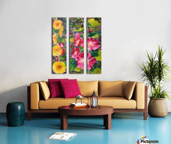 Hollyhocks  Split Canvas print