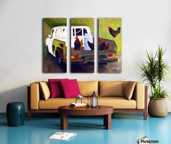 Hitching a Ride to Town Split Canvas print