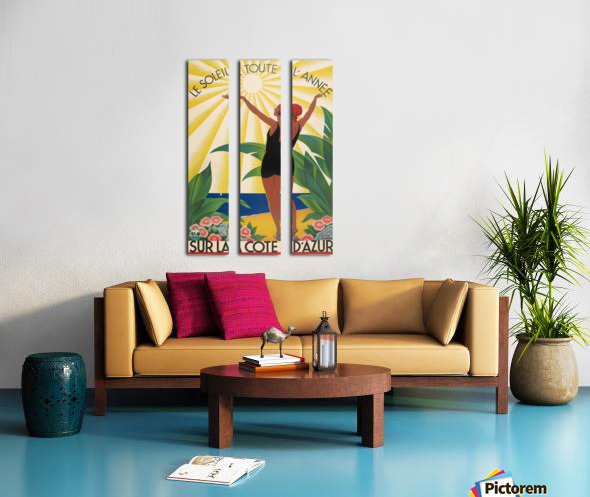 Sun All Year On the Cote dAzur poster in 1931 Split Canvas print