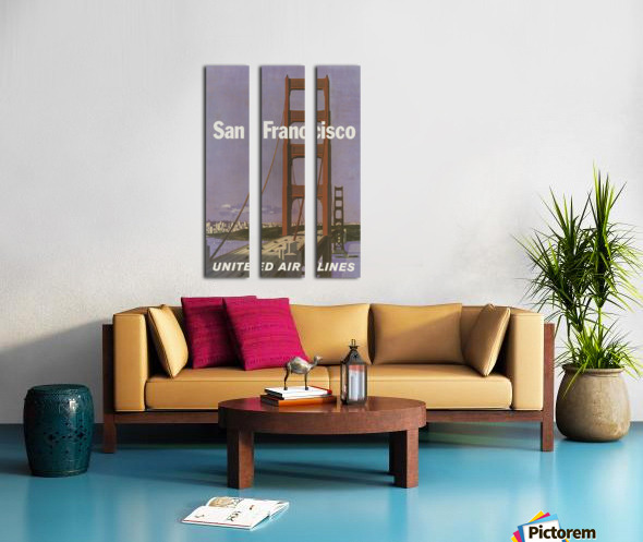 United Airlines Poster for San Francisco Split Canvas print