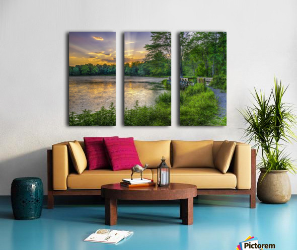 Lakeside sunset; Bushkill, Pennsylvania, United States of America Split Canvas print