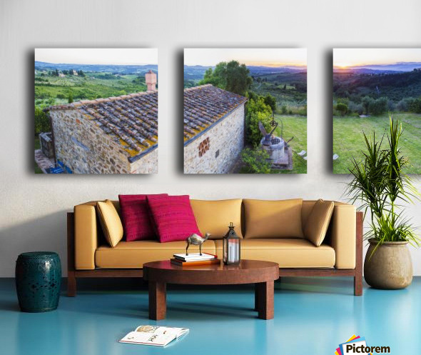 A stone house and a view of the lush landscape at sunset, Villa Capanuccia; Florence, Italy Split Canvas print
