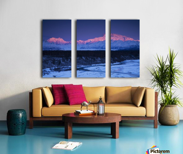 Alpenglow on Mt. McKinley and Mt. Hunter as seen from the Denali South Overlook along the Parks Highway, Denali State Park, Alaska, Winter Split Canvas print