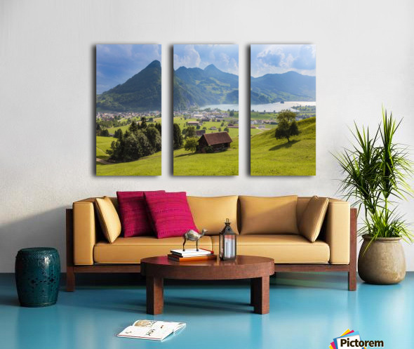 Seewen, a village on Lake Lauerz; Schwyz Canton, Switzerland Split Canvas print