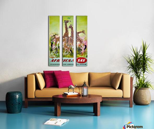 Scandinavian Airlines Africa by SAS original advertising poster Split Canvas print