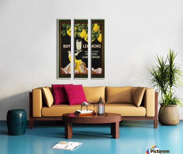 Buy lemons and make lemonade vintage poster Split Canvas print