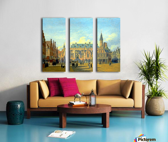 The Market Place and Town Hall Haarlem Split Canvas print