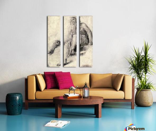 Saint Jerome Reading with the Lion Split Canvas print